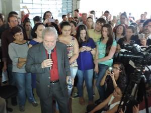 Lula discursou para estudantes da UFSCar em Buri (Foto: Caio Gomes Silveira/G1)