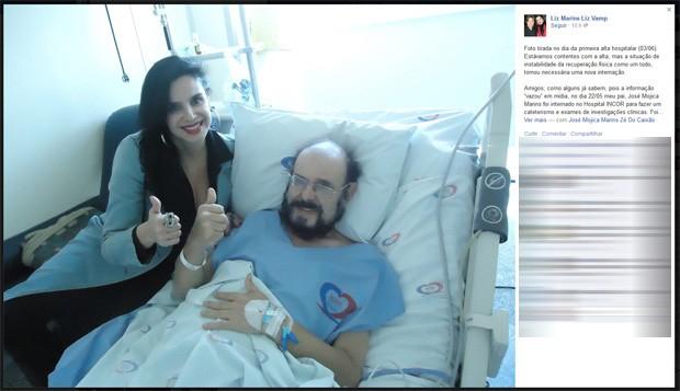 Liz Marins, filha de José Mojica Marins, o Zé do Caixão, publicou uma foto ao lado do pai, quando ele recebeu alta do Incor (Instituto do Coração), em São Paulo, no dia 3 de junho (Foto: Reprodução/Facebook)