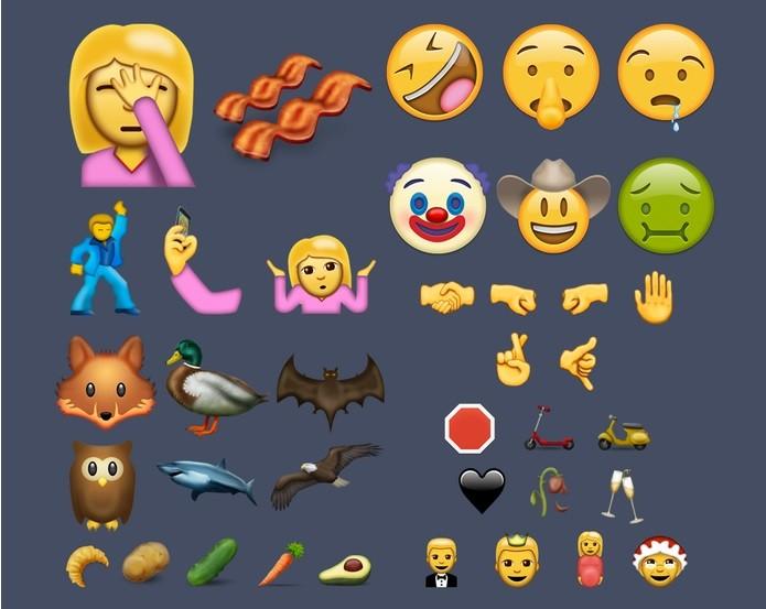 Facepalm, palhaço e bacon devem estar entre os novos emojis (Foto: Reprodução/Emojipedia)