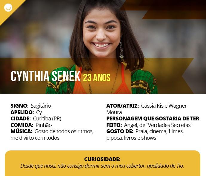 Card com informações curiosas de Cynthia Senek (Foto: Gshow)
