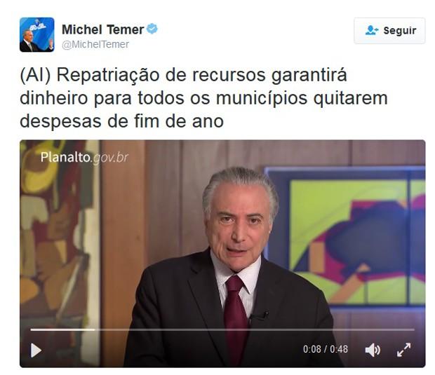 Vídeo publicado pelo presidente Michel Temer no Twitter sobre a lei da repatriação (Foto: Reprodução/Twitter)