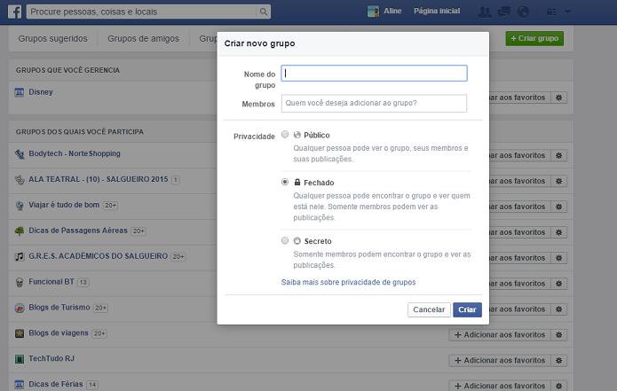 Configurando um grupo no Facebook (Foto: Aline Jesus/Reprodução)