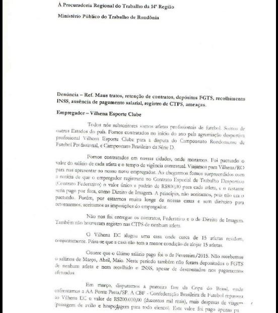 Denúncia contra o Vilhena Esporte Clube feita pelos jogadores (Foto: Reprodução)