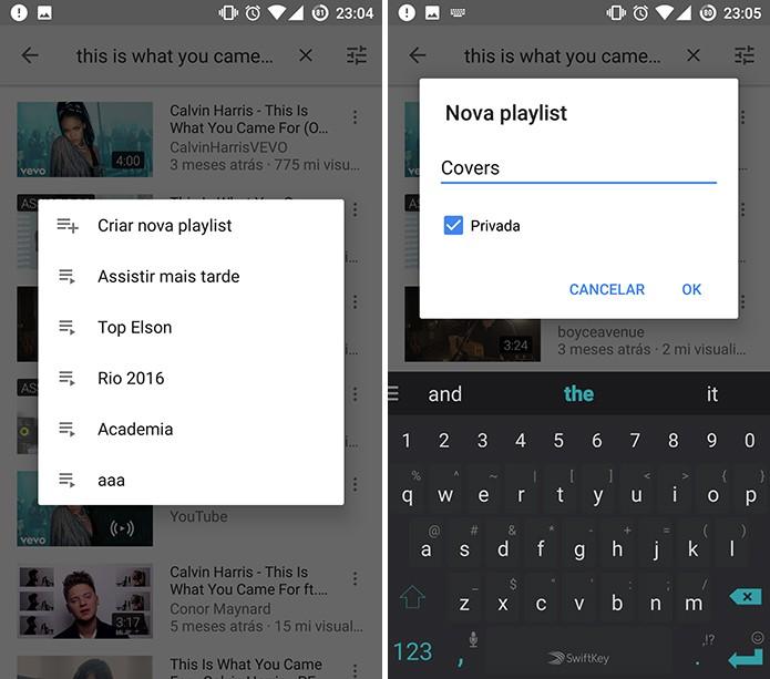 Usuário pode criar nova playlist do YouTube com vídeo a ser adicionado (Foto: Reprodução/Elson de Souza)