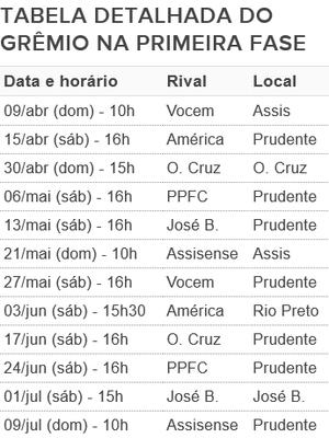 Tabela do Grêmio Prudente na primeira fase da Segundona (Foto: Editoria de Arte)