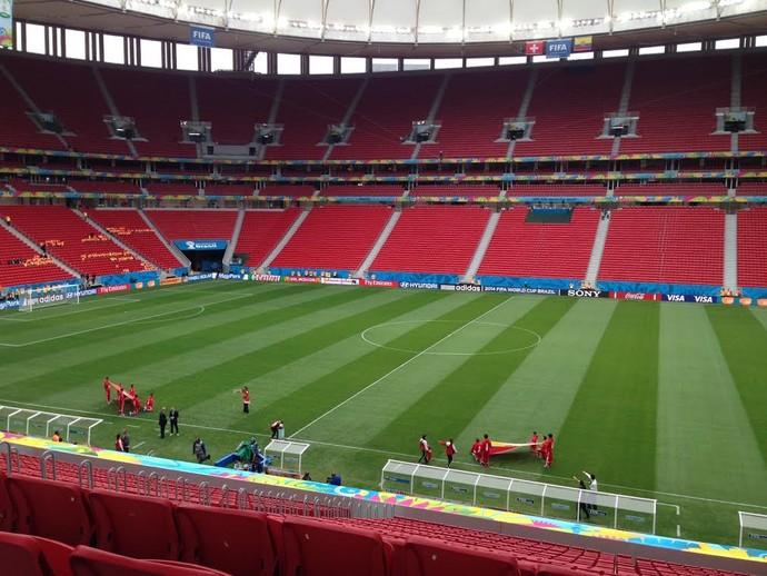 Mané Garrincha antes de Suíça x Equador (Foto: Thiago Lavinas / Globoesporte.com)
