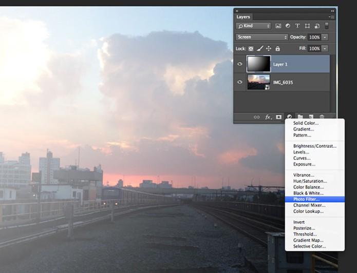 Aplique o Photo Filter na imagem com o Photoshop (Foto: Reprodução/André Sugai)