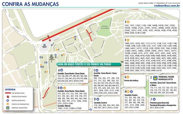 Veja as onde ficarão os pontos de cada linha de ônibus (Foto: Divulgação)