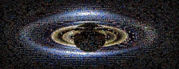 Imagem de Saturno também foi composta por retratos enviados pelo público. (Foto: AP Photo/NASA\JPL)