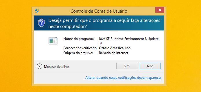 Permita a execução do instalador do Java (Foto: Reprodução/Helito Bijora)