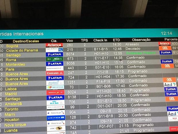 Voo tinha previsão para decolar às 8h, mas até as 12h seguia atrasado (Foto: Fernanda Rouvenat/G1)