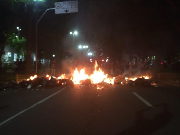 Fogo bloqueia Avenida Ipiranga na noite desta quarta-feira durante manifestação de estudantes (Foto: Roney Domingos/G1)