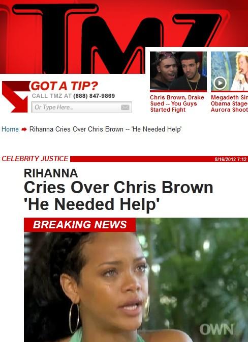 Rihanna chora em entrevita no canal de TV de Oprah (Foto: Reprodução)