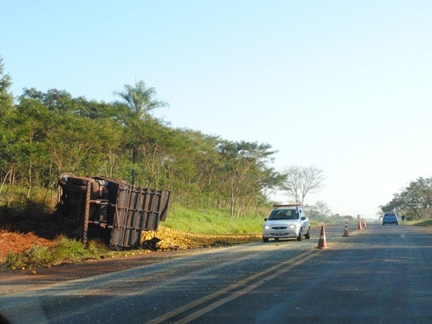 Caminhão carregado com laranjas tombou no acostamento (Foto: Jornal Folha de Ibitinga)