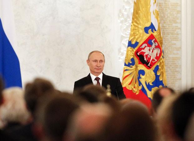 Putin faz pronunciamento sobre a Crimeia na Duma (18/03) (Foto: Maxim Shemetov/Reuters)