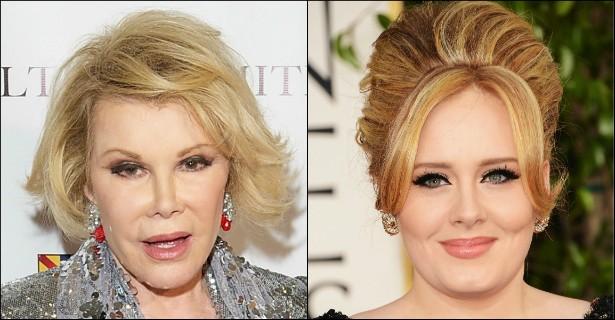 """Morta em setembro último, aos 81 anos de idade, a comediante Joan Rivers tinha uma língua muito afiada. Ela brincou com Adele certa vez, dizendo que a cantora britânica """"deveria acrescentar frango frito"""" ao seu hit 'Rolling in the Deep'. (Foto: Getty Images)"""