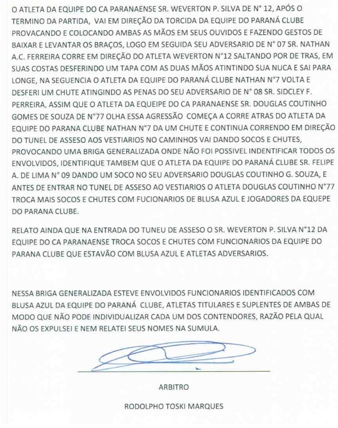 Atlético-PR Paraná súmula (Foto: Reprodução)