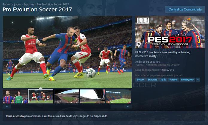 Página de Pro Evolution Soccer 2017 no Steam (Foto: Reprodução/André Mello)