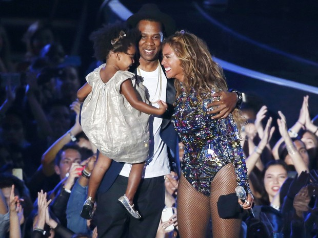?Image: Beyonce with her husband Jay-Z and daughter Blue Ivy