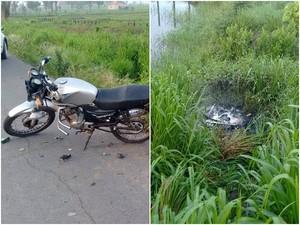 Motocicletas atingidas por carro na BR-316 (Foto: PRF)