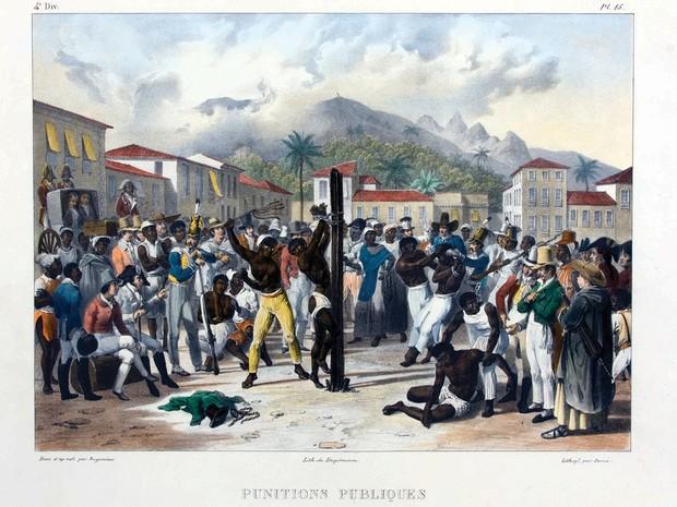 Uma das raras imagens que retratam a escravidão no Brasil. A obra de Johann Moritz Rugendas, uma litografia colorida à mão, data de 1835 (Foto: Foto/ Edouard Fraipont)