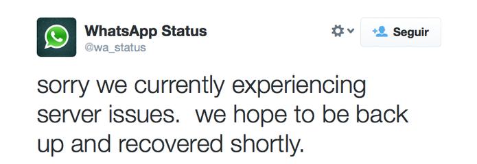 Twitter oficial do WhatsApp informa sobre a falha em seus servidores e diz que estará normalizando o serviço em breve (Foto: Reprodução / TechTudo)