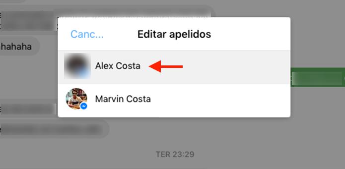 Caminho para adicionar um apelido para um contato no bate papo do Facebook (Foto: Reprodução/Marvin Costa)