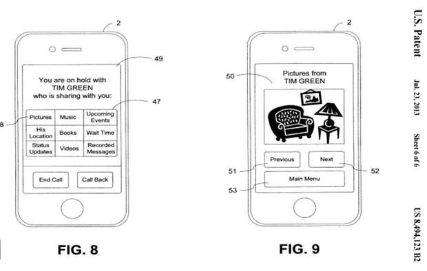 Patente da Apple sugere usar recursos de compartilhamento de conteúdo durante espera de chamadas (Foto: Divulgação/U.S. Patent)