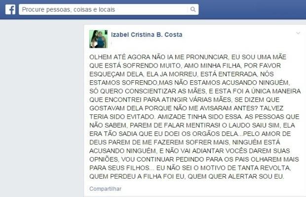 Mãe de garota morta por uso de anabolizantes desabafa em rede social (Foto: Facebook/Reprodução)