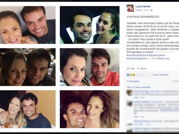 Namorada faz post sobre desaparecimento de Danilo Luiz, em Belo Horizonte (Foto: Reprodução/Facebook)
