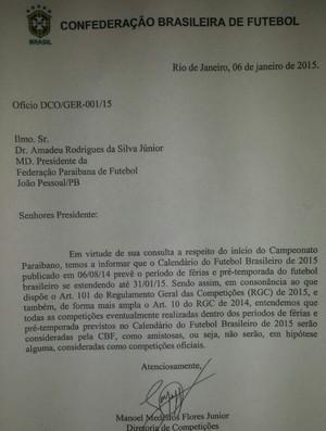 Documento diretoria Treze (Foto: Divulgação / Treze)