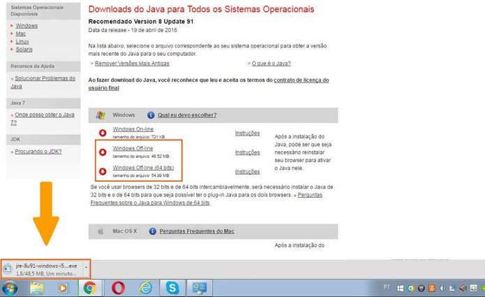 Faça o download do Java para Windows 7 (Foto: Reprodução/Barbara Mannara)