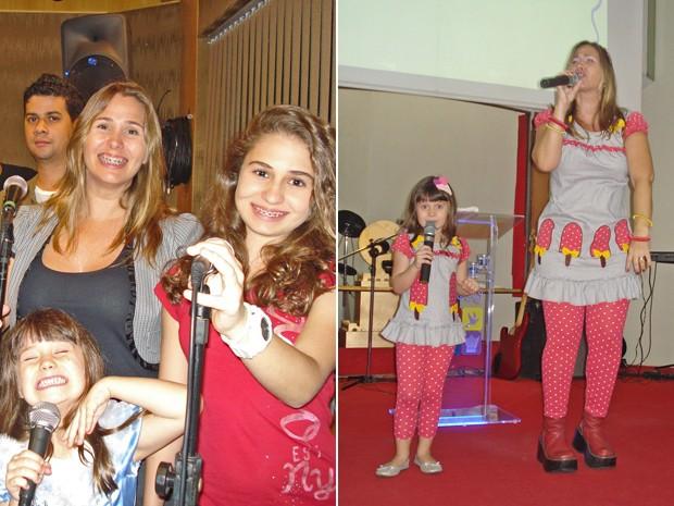 Andreia Sorvetão se diverte com as filhas cantando em festas (Foto: Arquivo Pessoal)