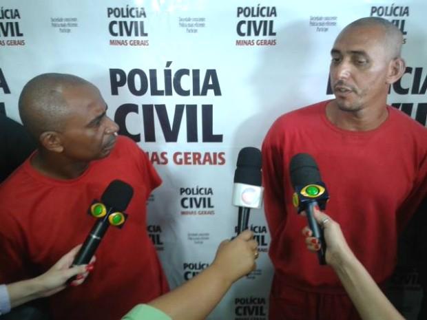 Suspeitos do triplo homicídio são apresentados juntos pela Polícia Civil (Foto: Alex Rocha/G1) (Foto: Alex Rocha/G1)
