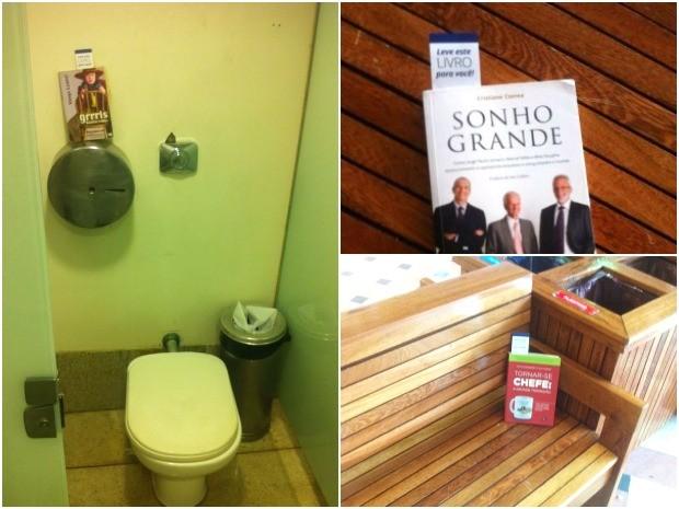 Livros foram deixados em banheiros, bancos e mesas de shopping (Foto: Divulgação/Global Shapers Manaus)