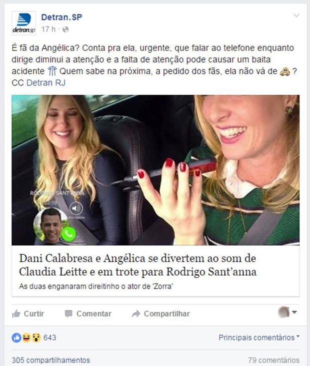 Detran de São Palo faz post citando Angélica (Foto: Reprodução / Facebook)