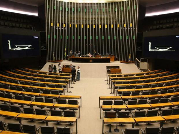 Plenário da Câmara dos Deputados, em Brasília, durante tentativa de abertura de sessão, que não se concretizou, nesta quarta-feira (26).   (Foto: ED FERREIRA/AE)