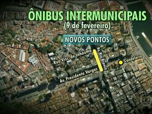 Haverá mudanças no itinerário e o ponto final das linhas de ônibus. (Foto: Reprodução / TV Globo)