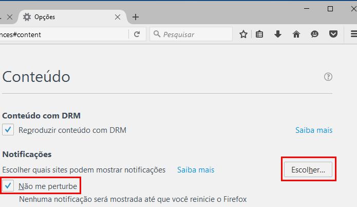 Acessando as principais configurações das notificações no Firefox (Foto: Reprodução/Edivaldo Brito)
