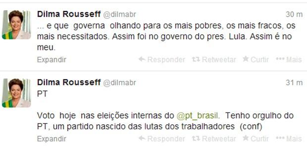 Mensagem da presidente Dilma Rousseff sobre as eleições do PT no microblog Twitter (Foto: Reprodução)