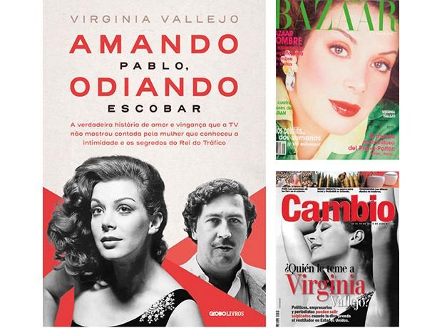 A capa do livro que é lançado no Brasil este mês, e revistas colombianas estampadas pela jornalista nos anos 80 e 90 (Foto: Arquivo Pessoal)