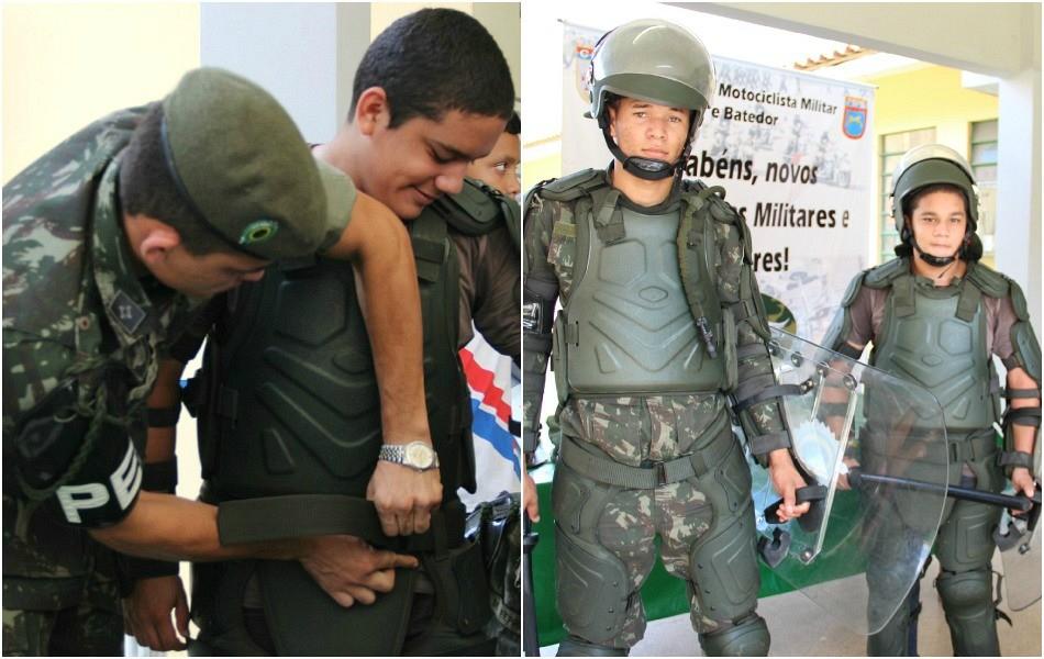 Estudante vestiu o uniforme de ação dos policiais do Exército (Foto: Katiúscia Monteiro/ Rede Amazônica)