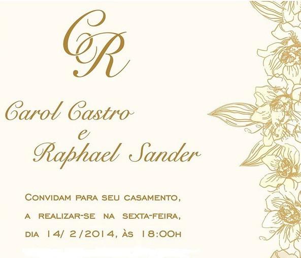 Convite de casamento Carol Castro e Raphael Sander (Foto: Divulgação)