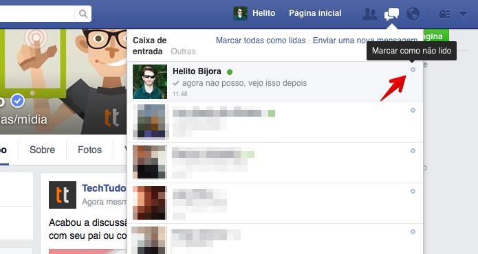 Marcando uma conversa como não lida no Facebook (Foto: Reprodução/Helito Bijora)