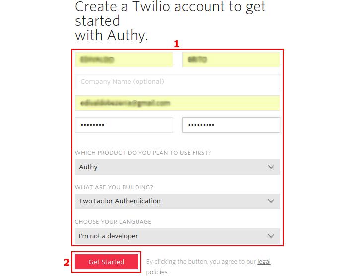 Criando uma conta no authy.com (Foto: Reprodução/Edivaldo Brito)