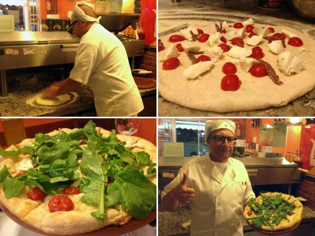 Andrea sempre abre as pizzas com as próprias mãos (Foto: Flavio Flarys / G1)