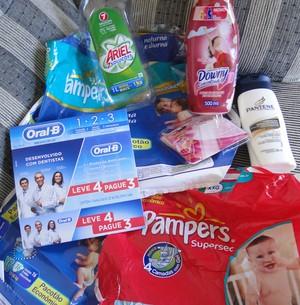Ana cadastrou esses produtos da P&G no site e ganhou o Avião em dobro! (Foto: (TV Globo: Avião do Faustão))