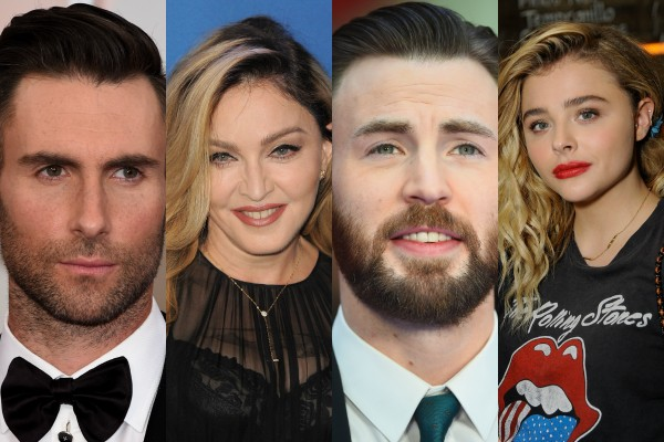 Adam Levine, Madonna, Chris Evans e Chloe Grace Moretz (Foto: Getty Images)