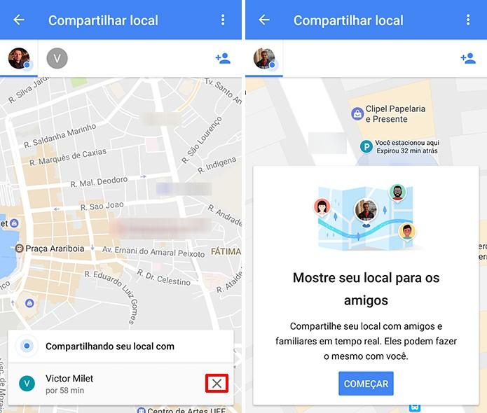 Toque no X para encerrar o compartilhamento de localização em tempo real do Google Maps (Foto: Reprodução/Elson de Souza)