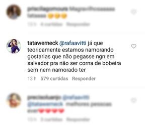 Comentários de Tatá Werneck e Rafael Vitti (Foto: Instagram / Reprodução)